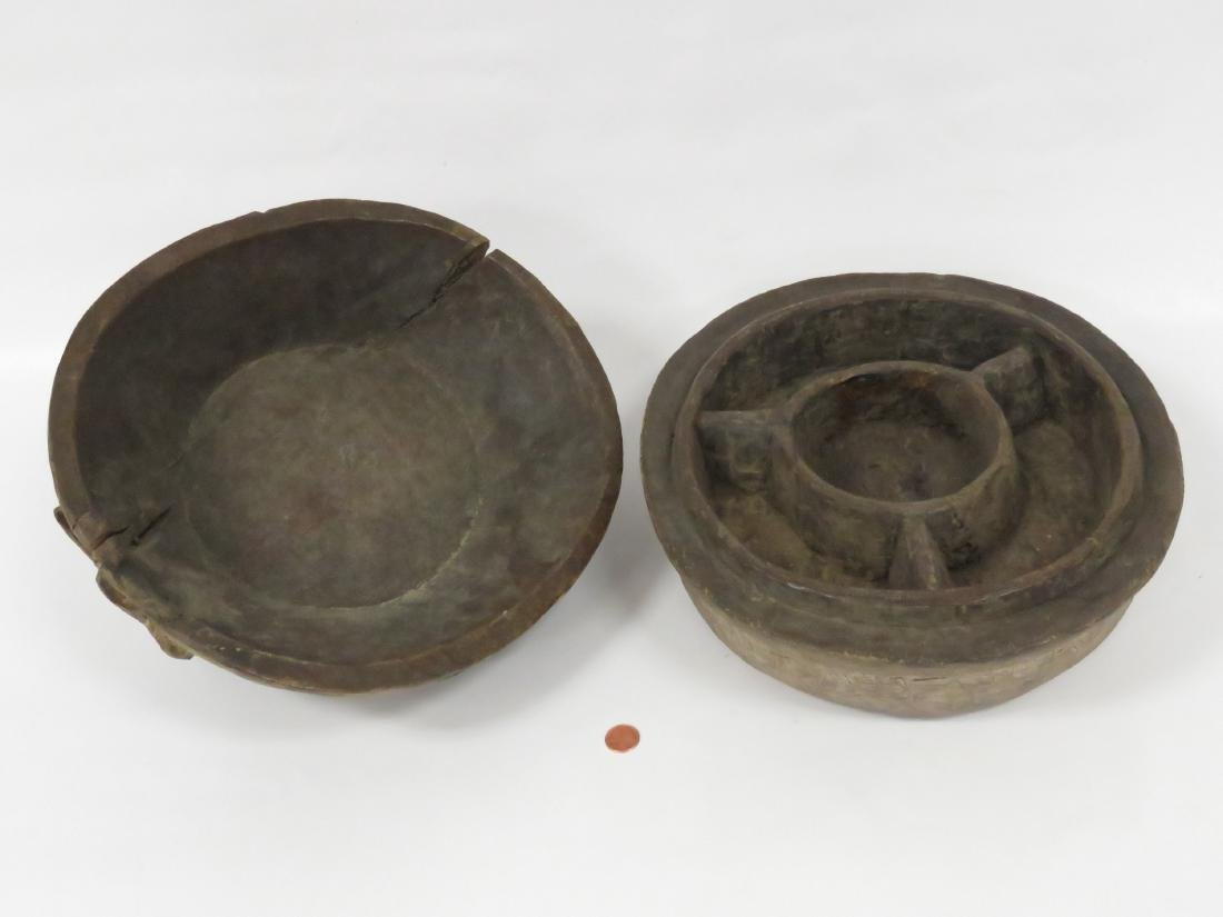 "BAKUBA, D.R.C., CARVED FOOD CONTAINER. HEIGHT 11""; - 3"