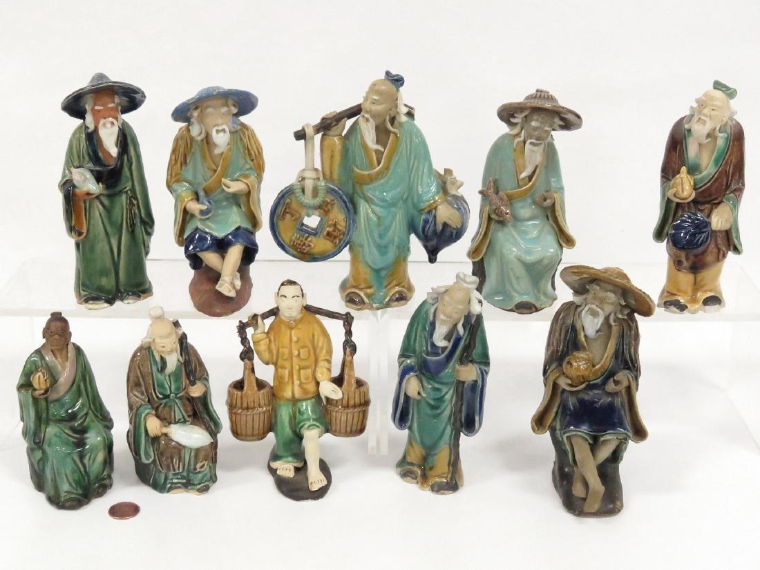 LOT (10) CHINESE ASSORTED MUD MEN, 19/20TH CENTURY.