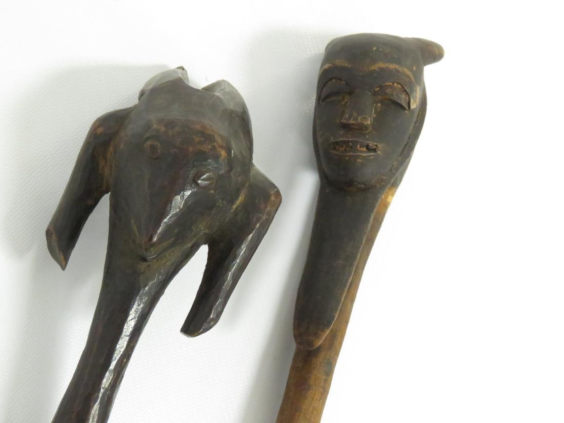 """LOT (2) AFRICAN CARVED WOOD SPOONS. LENGTH 11-14"""" - 2"""
