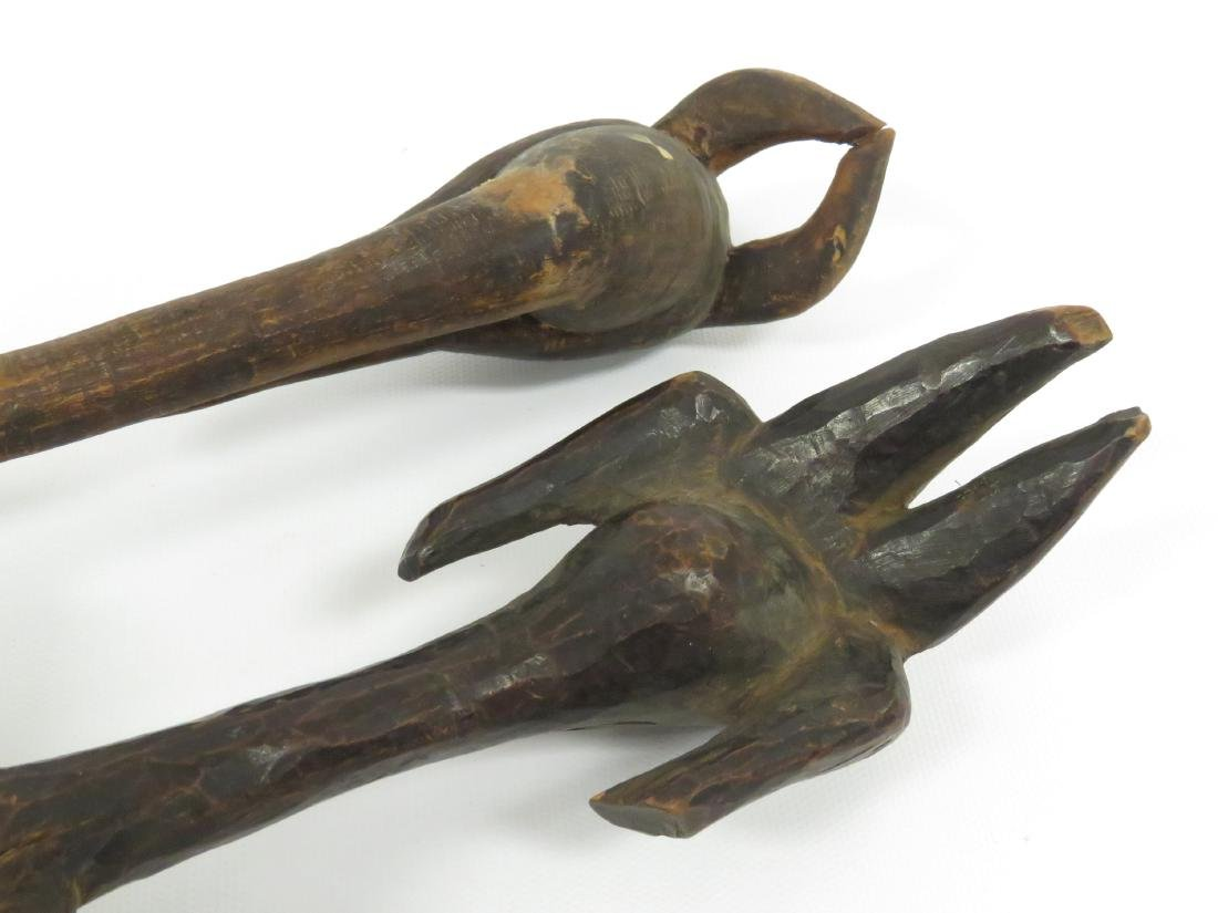 """LOT (2) AFRICAN CARVED WOOD SPOONS. LENGTH 11-14"""" - 4"""