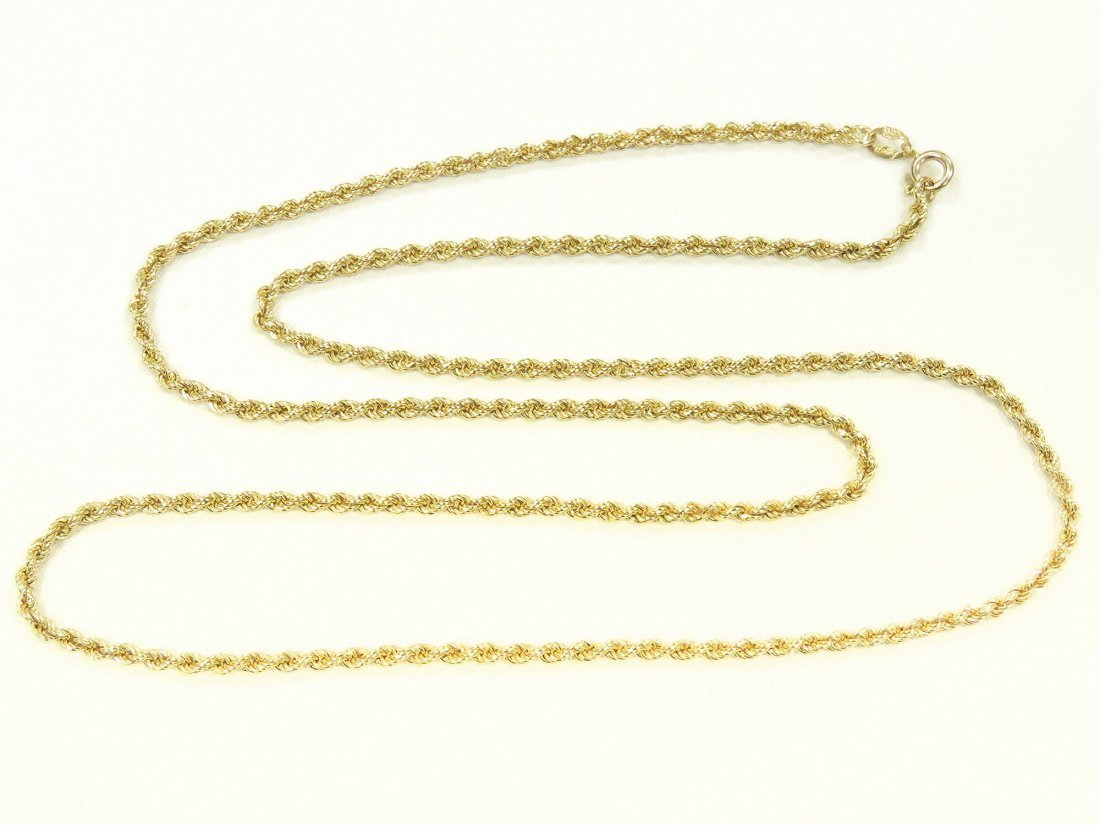 "ITALIAN 585 YELLOW GOLD ROPE TWIST NECKLACE. LENGTH 27"";"