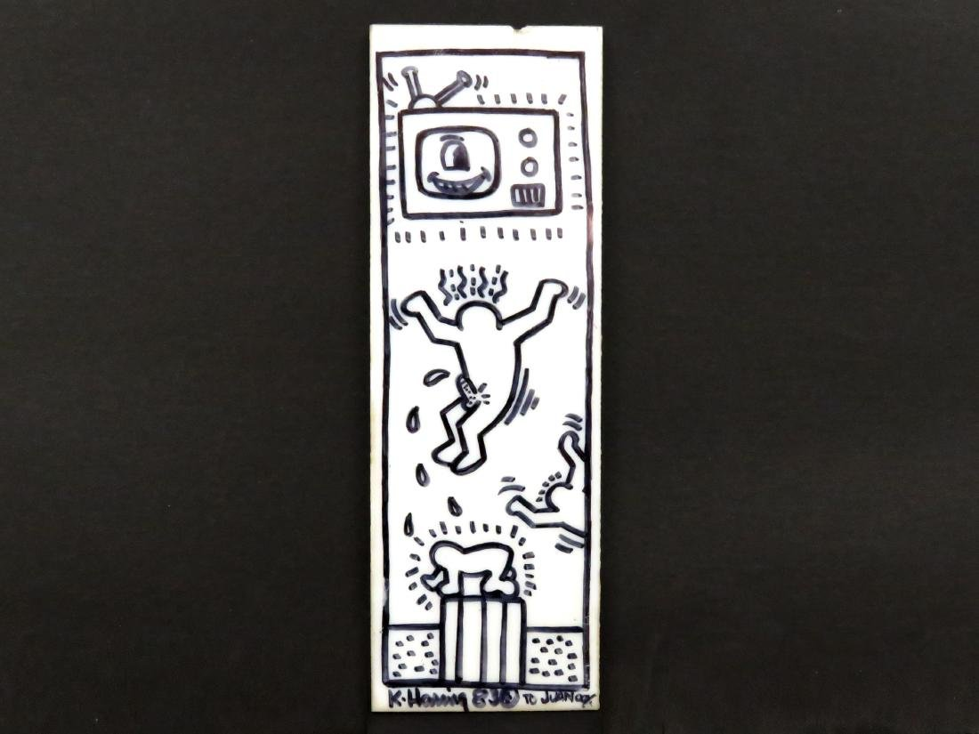 KEITH HARING (AMERICAN 1958-1990), MARKER ON GLASS