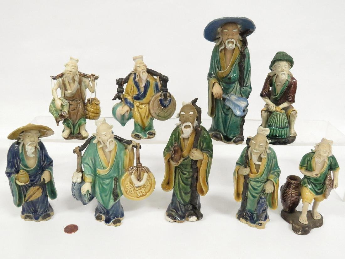 LOT (9) CHINESE ASSORTED MUD MEN, 19/20TH CENTURY.