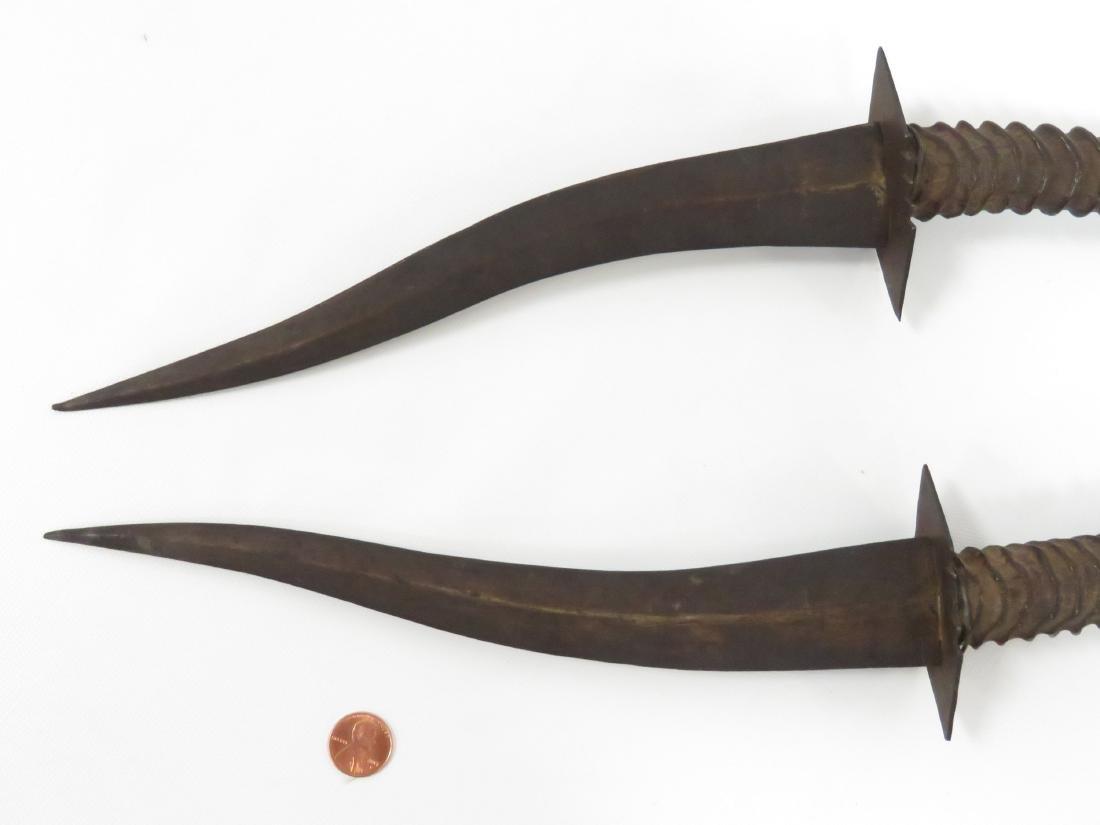 PAIR ETHIOPIAN ANTELOPE HORN HANDLED DAGGERS. LENGTH - 4