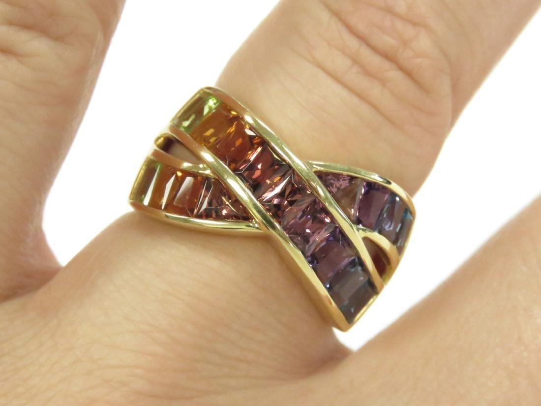 750 YELLOW GOLD AND RAINBOW SEMI-PRECIOUS GEM-SET RING