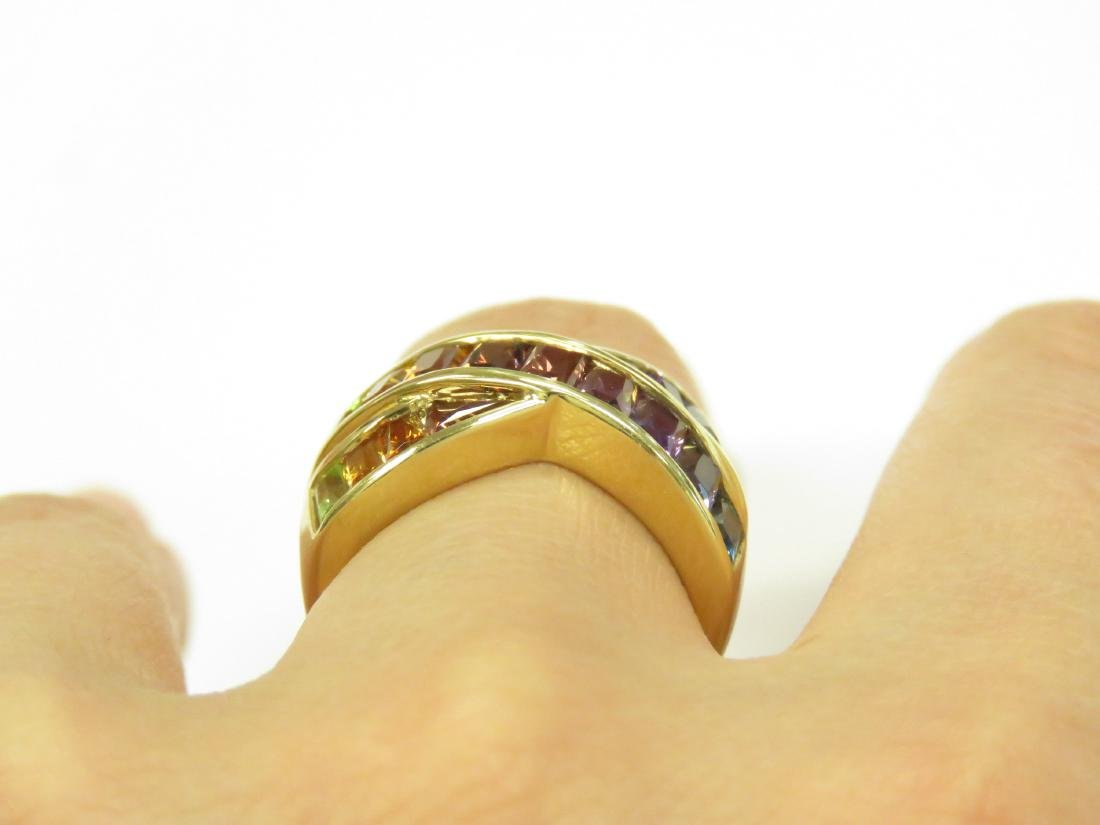 750 YELLOW GOLD AND RAINBOW SEMI-PRECIOUS GEM-SET RING - 2