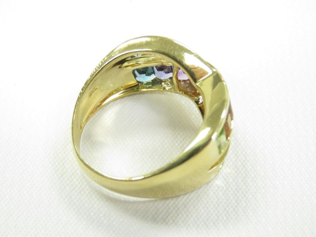 750 YELLOW GOLD AND RAINBOW SEMI-PRECIOUS GEM-SET RING - 3