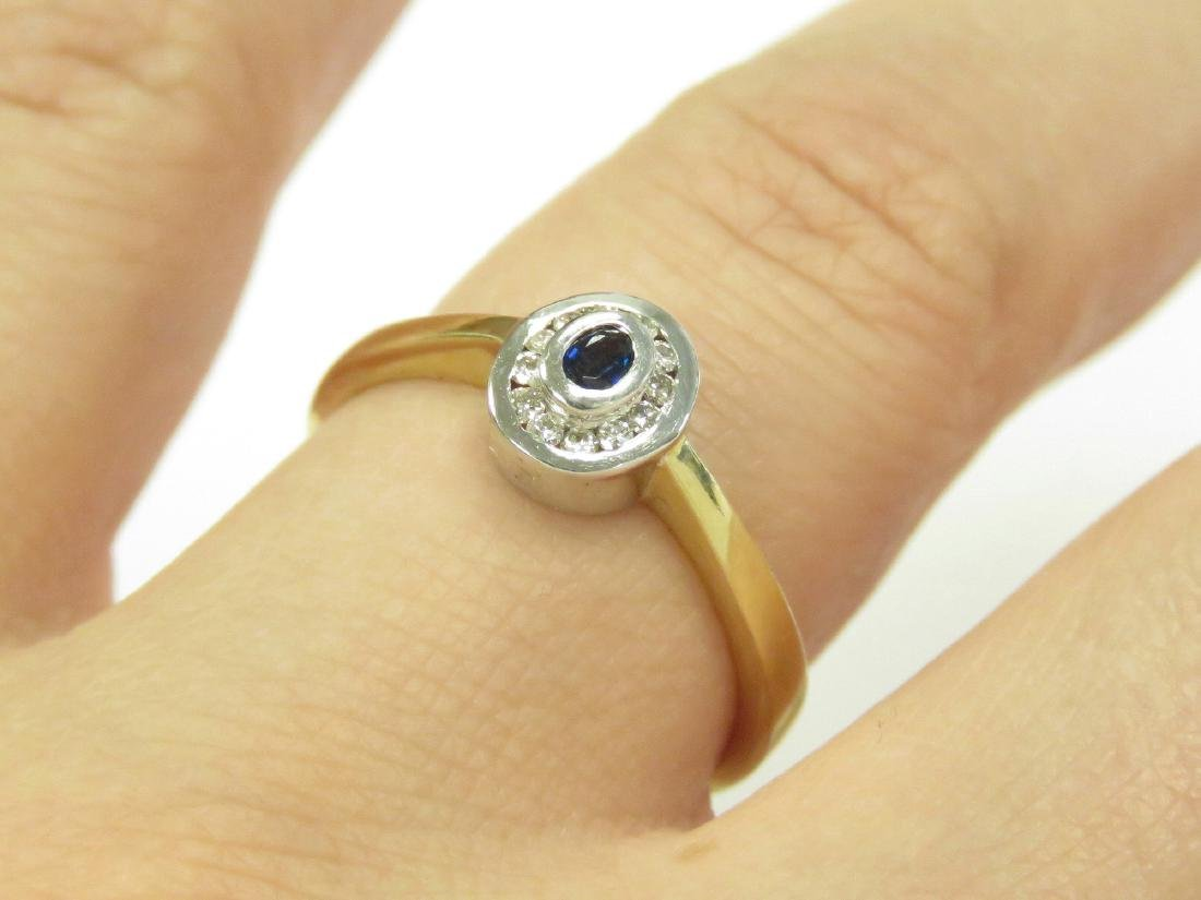585 YELLOW/WHITE GOLD OVAL-CUT BLUE SAPPHIRE AND