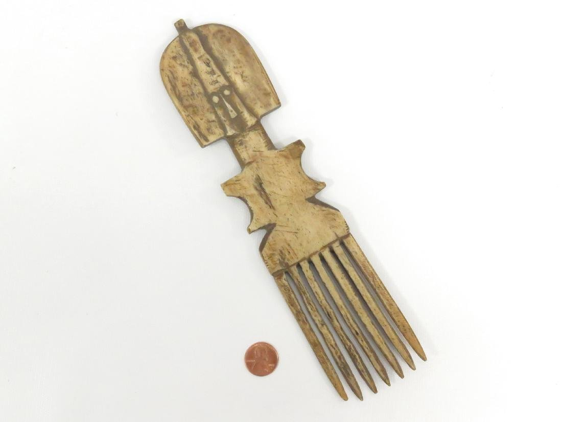 ASHANTI, GHANA, CARVED BONE COMB. HEIGHT 9 1/2""