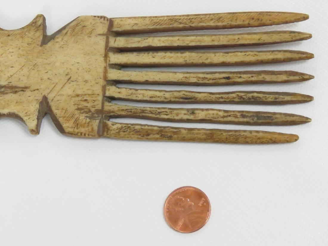 "ASHANTI, GHANA, CARVED BONE COMB. HEIGHT 9 1/2"" - 3"