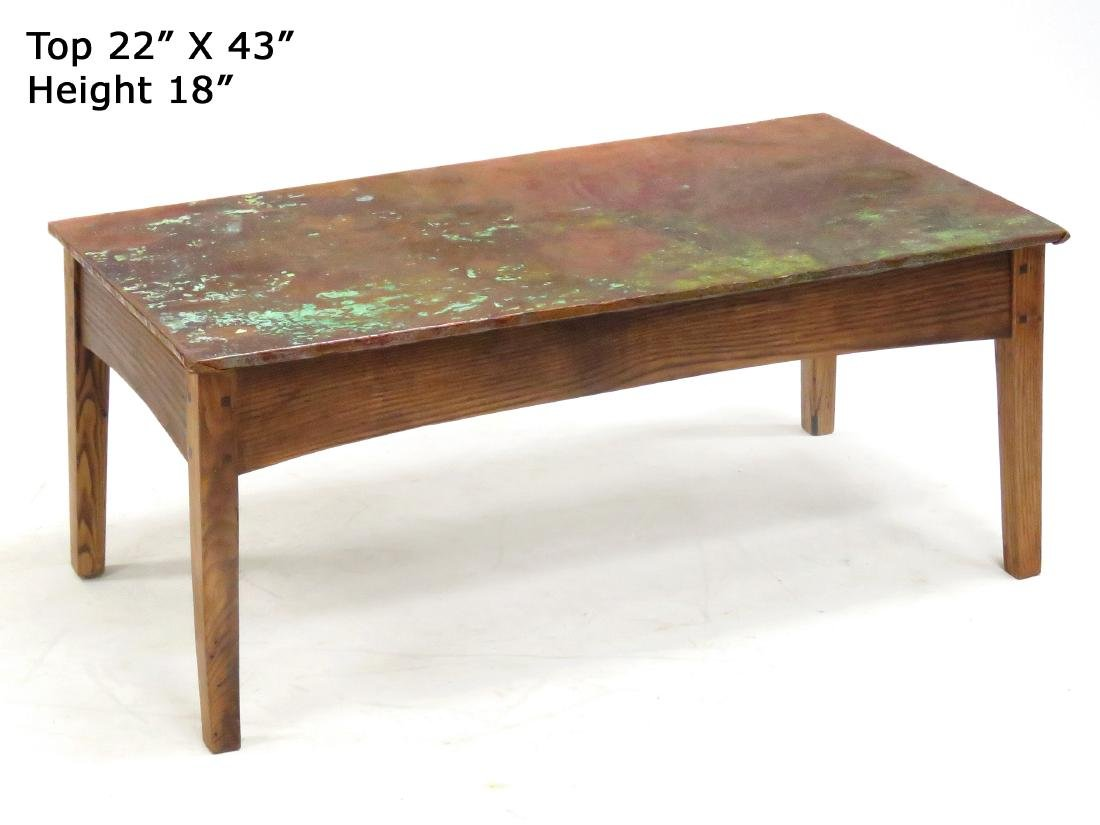 """CRAFTSMAN COPPER CLAD COFFEE TABLE. HEIGHT 18""""; WIDTH"""