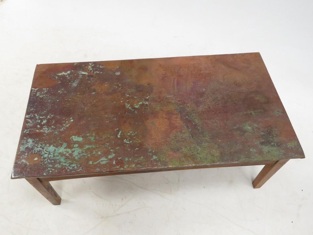 "CRAFTSMAN COPPER CLAD COFFEE TABLE. HEIGHT 18""; WIDTH - 2"
