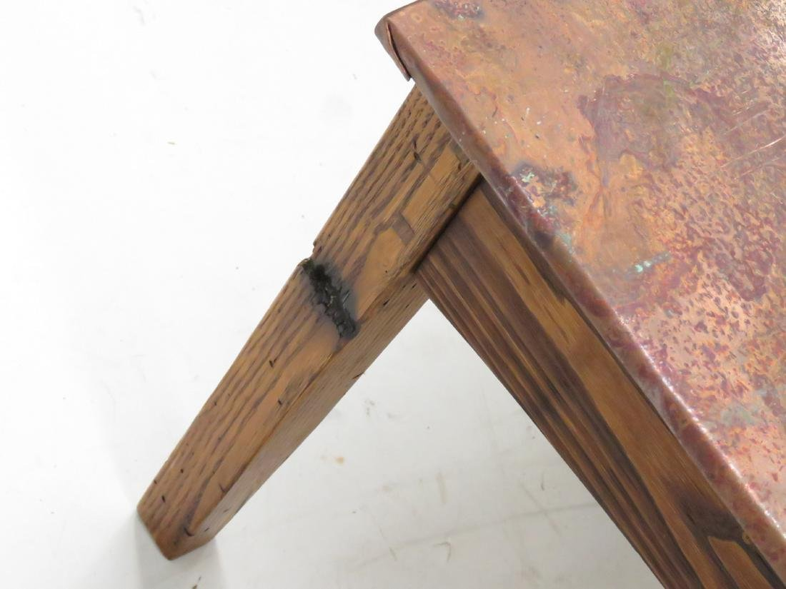 """CRAFTSMAN COPPER CLAD COFFEE TABLE. HEIGHT 18""""; WIDTH - 5"""