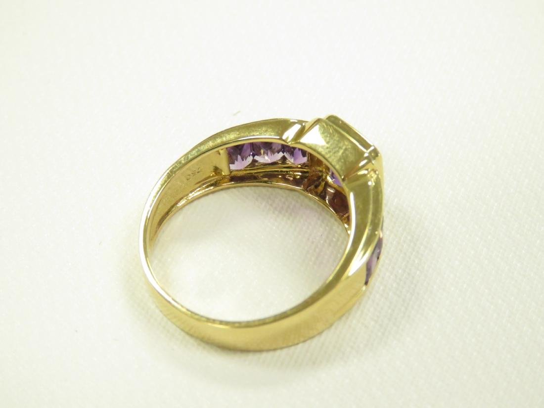 750 YELLOW GOLD AND BEZEL-SET AMETHYST AND DIAMOND - 3