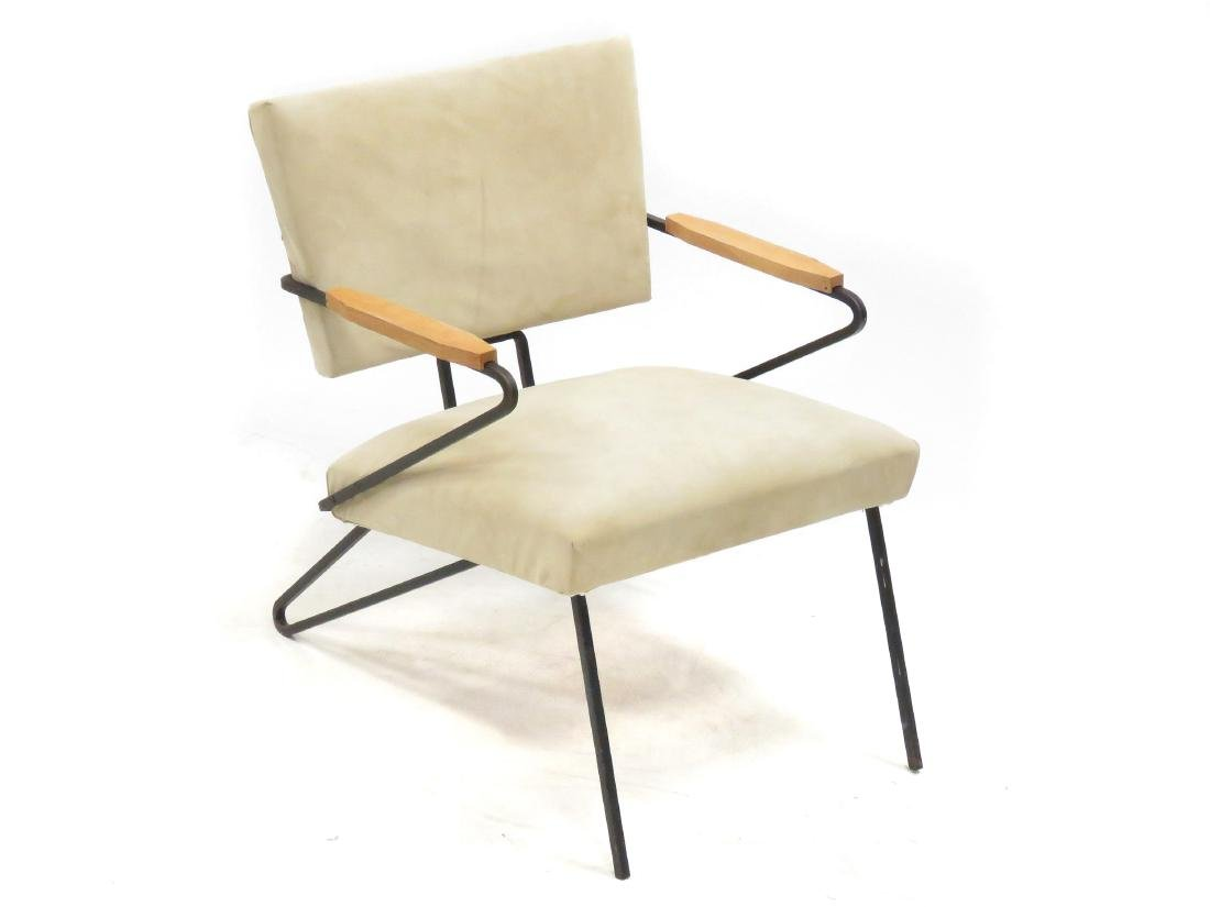 MID-CENTURY MODERN SUEDE AND WROUGHT IRON ARMCHAIR,