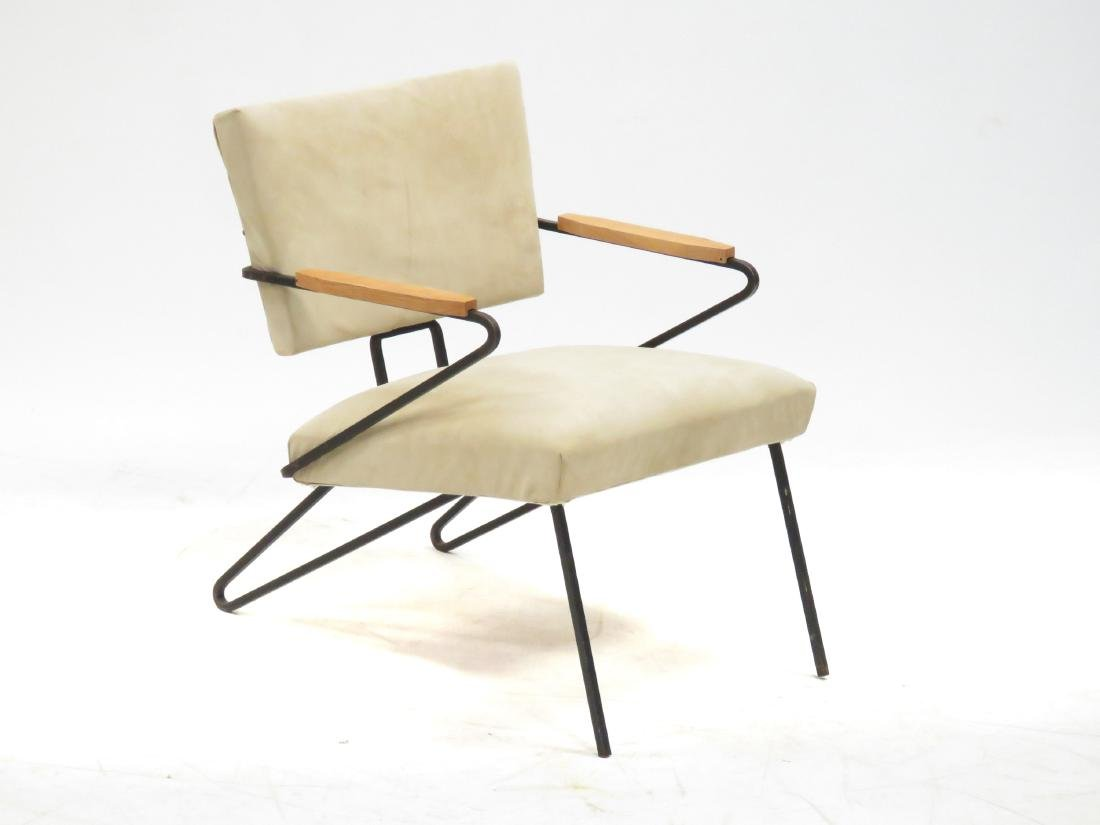 MID-CENTURY MODERN SUEDE AND WROUGHT IRON ARMCHAIR, - 2