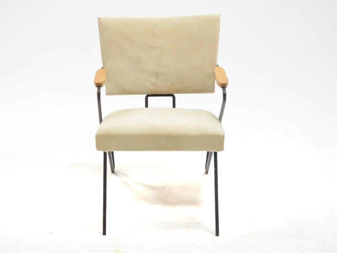 MID-CENTURY MODERN SUEDE AND WROUGHT IRON ARMCHAIR, - 3