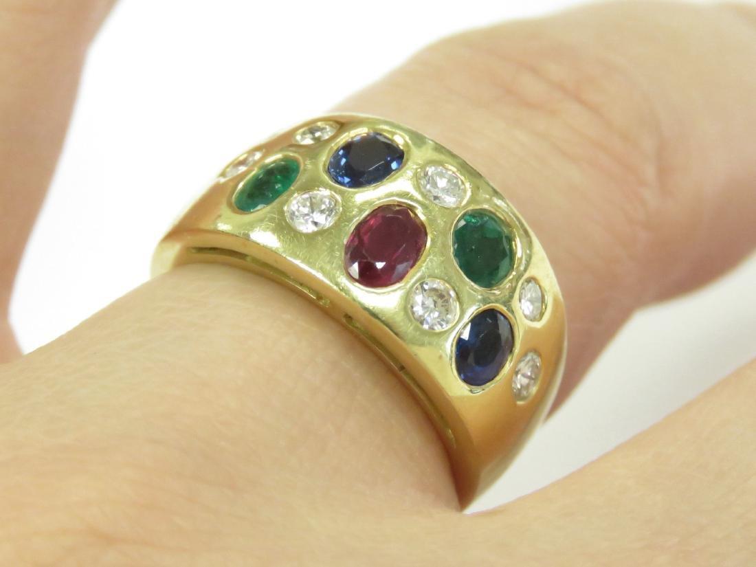 750 YELLOW GOLD MULTI GEM-SET RING INCLUDING DIAMONDS,