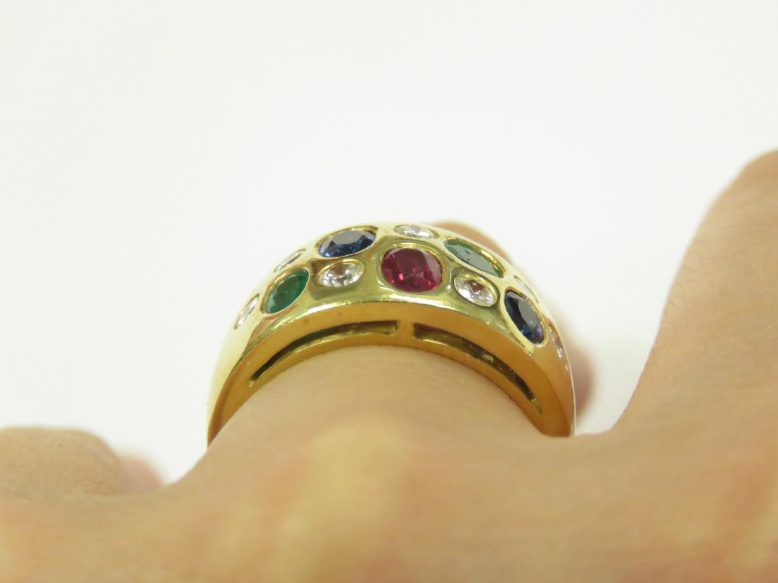 750 YELLOW GOLD MULTI GEM-SET RING INCLUDING DIAMONDS, - 2