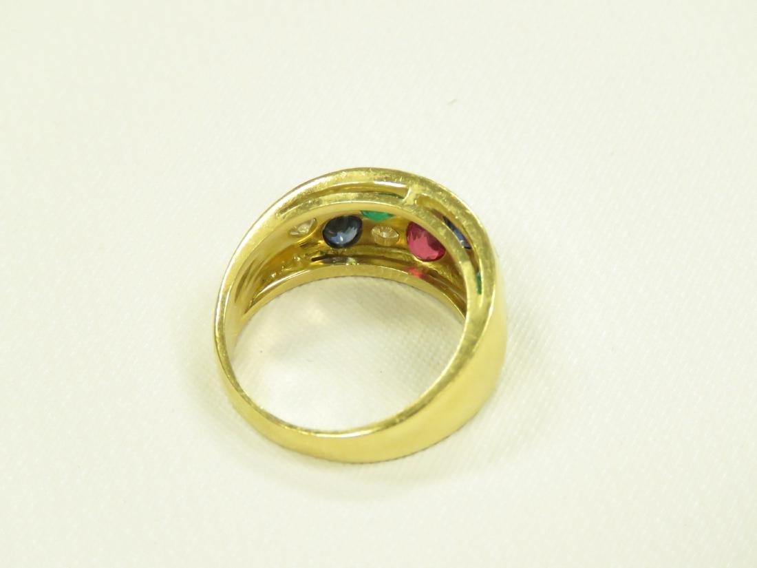 750 YELLOW GOLD MULTI GEM-SET RING INCLUDING DIAMONDS, - 3