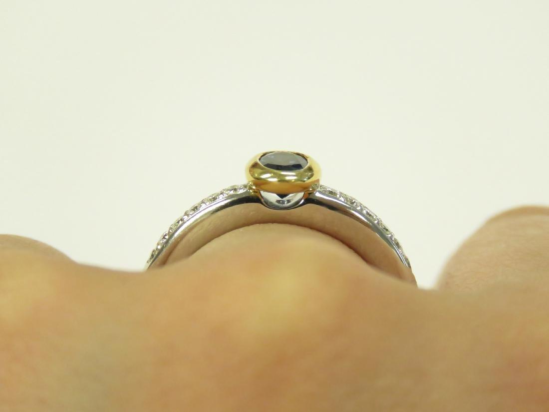18K WHITE/YELLOW GOLD DIAMOND AND SAPPHIRE RING SET - 2