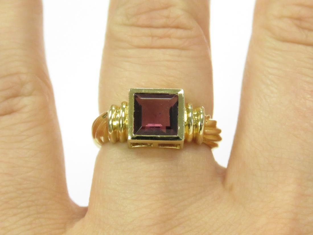 14K YELLOW GOLD AND RHODOLITE RING BEZEL-SET, - 2