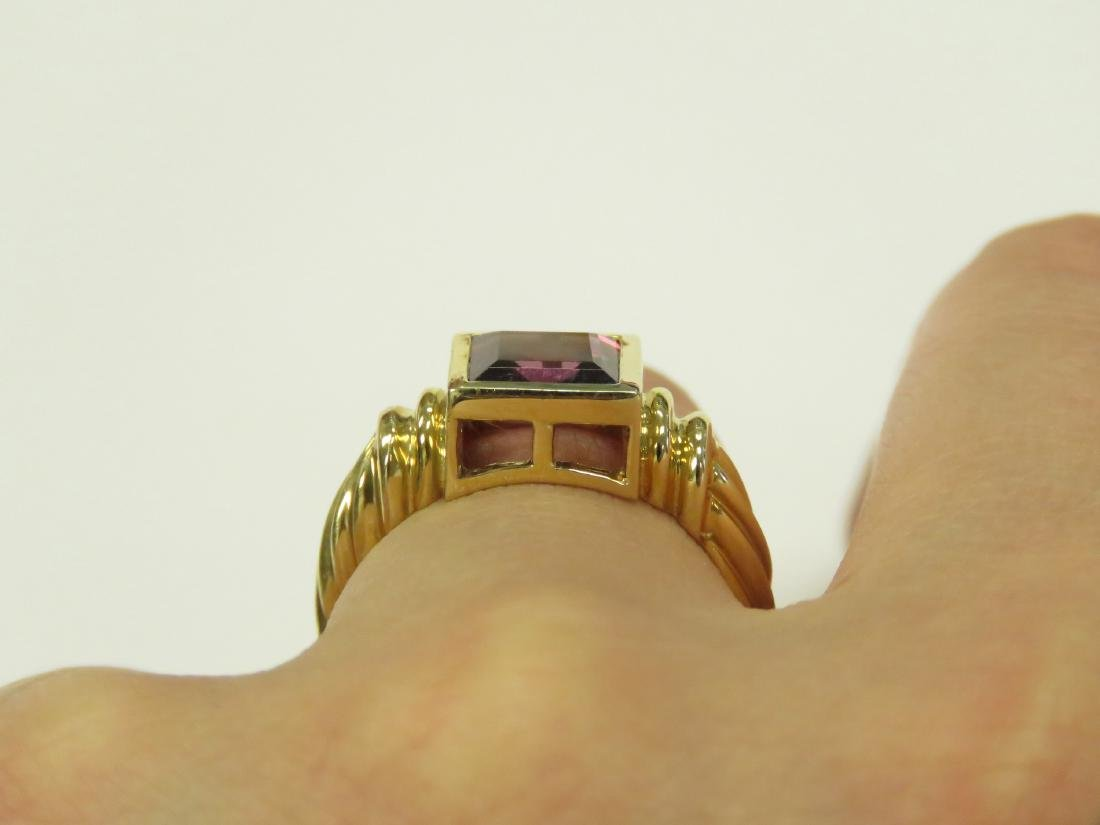 14K YELLOW GOLD AND RHODOLITE RING BEZEL-SET, - 3