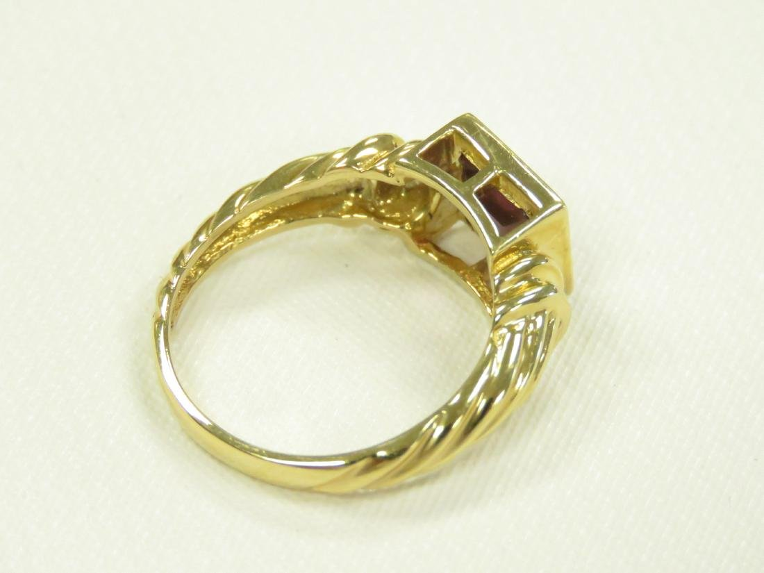14K YELLOW GOLD AND RHODOLITE RING BEZEL-SET, - 4