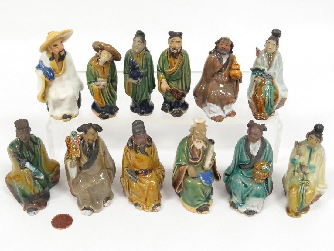 LOT (12) CHINESE ASSORTED MUD MEN, 19/20TH CENTURY.