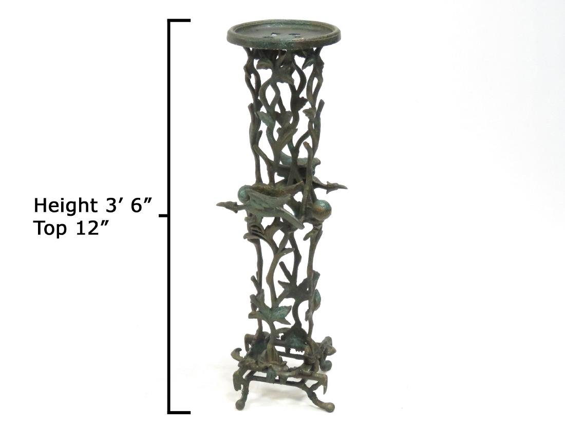 """CHINOISERIE PATINATED METAL FERN STAND. HEIGHT 42""""; TOP"""