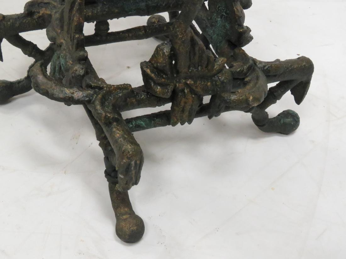 """CHINOISERIE PATINATED METAL FERN STAND. HEIGHT 42""""; TOP - 5"""