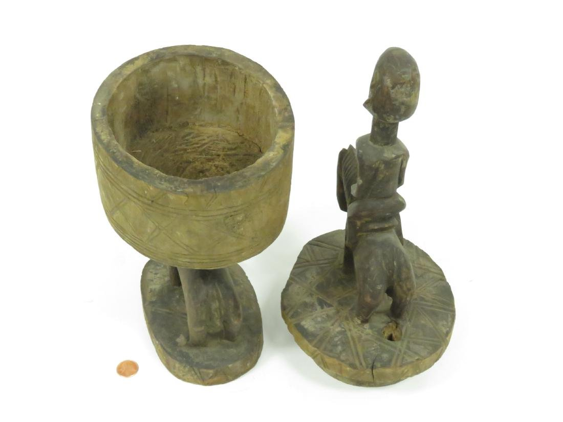 """DOGON, MALI, CARVED FIGURAL FOOD CONTAINER. HEIGHT 20"""" - 3"""