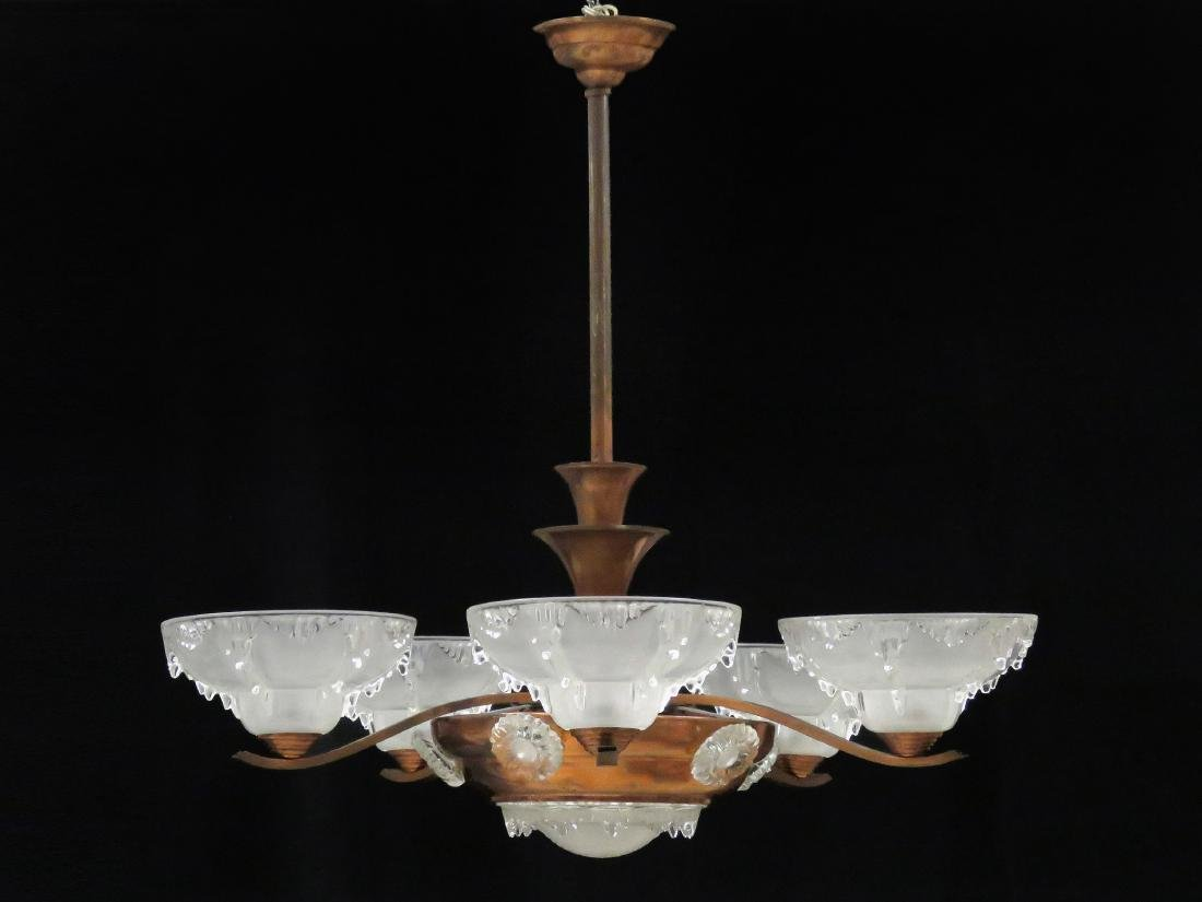 FRENCH ART DECO COPPER AND CRYSTAL 5-ARM CHANDELIER,