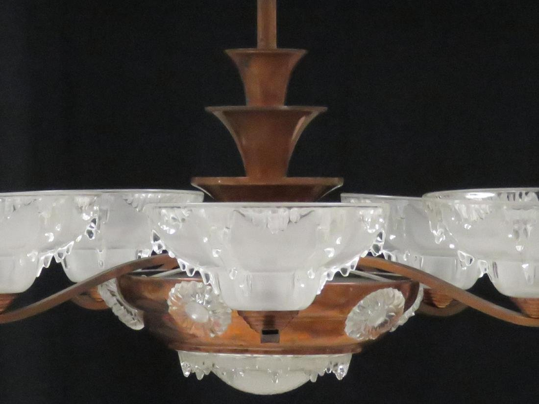 FRENCH ART DECO COPPER AND CRYSTAL 5-ARM CHANDELIER, - 2