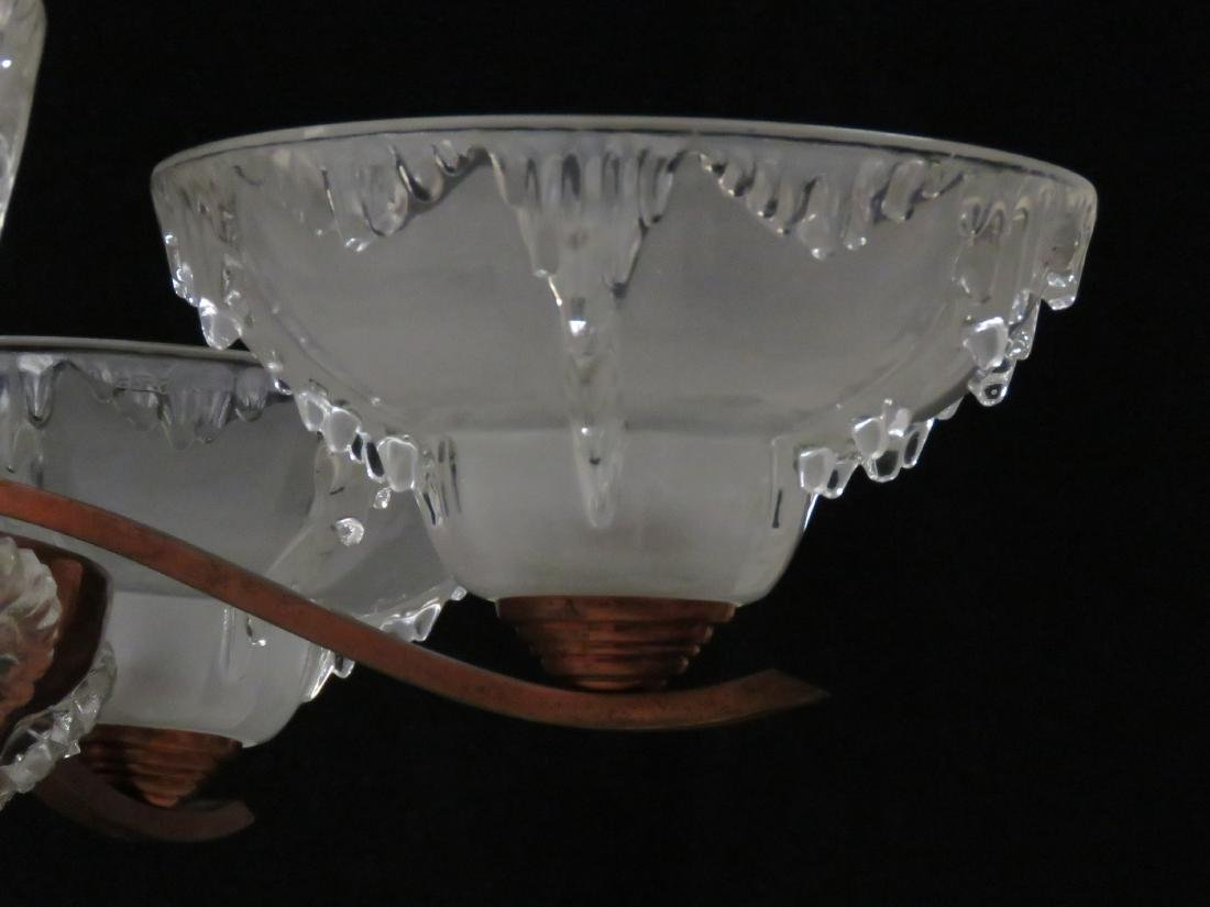 FRENCH ART DECO COPPER AND CRYSTAL 5-ARM CHANDELIER, - 3