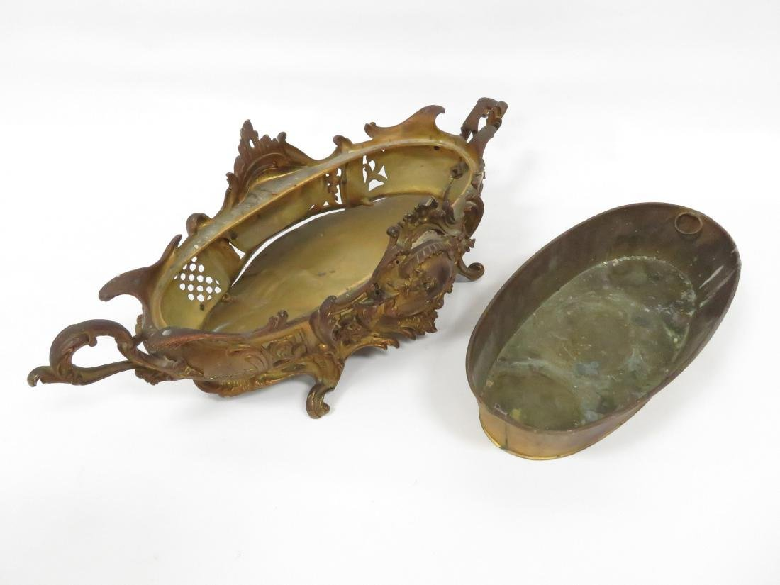 """FRENCH GILT BRONZE OVAL CENTER PIECE BOWL. HEIGHT 6""""; - 3"""