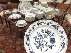 BLUE DANUBE DECORATED PORCELAIN DINNER SERVICE FOR 12