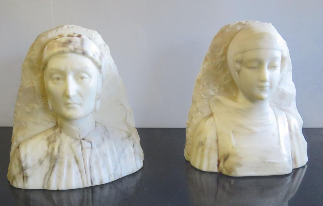 PAIR CARVED MARBLE DANTE' & BEATRICE BOOKENDS. HEIGHT 6