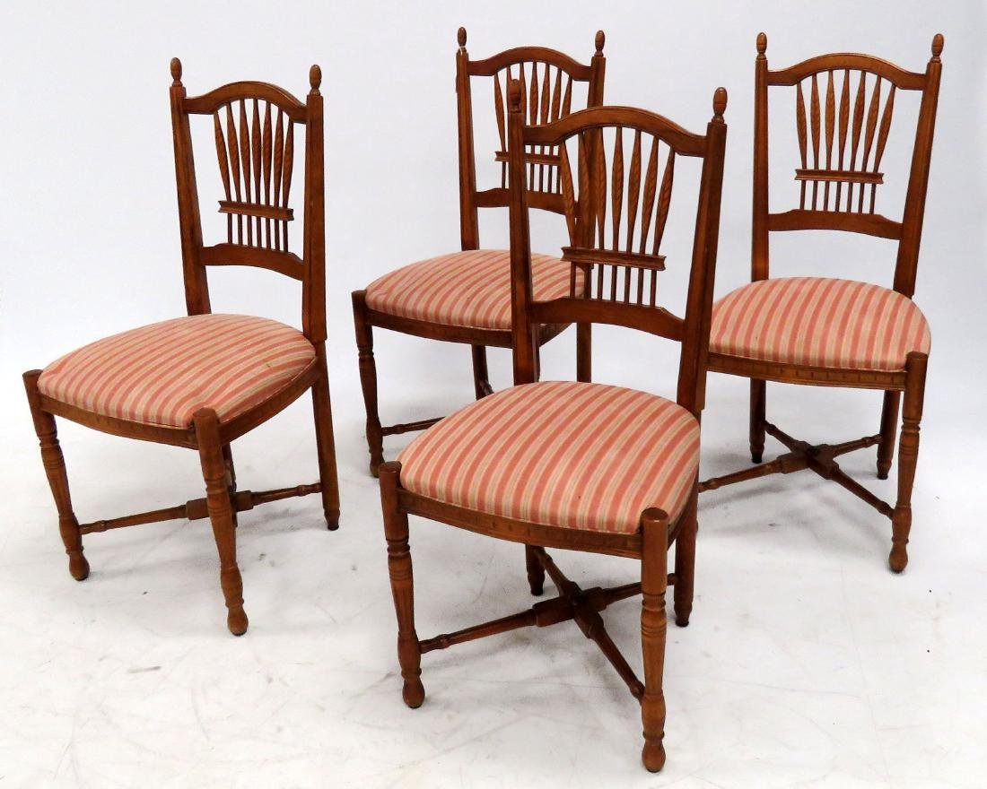 SET (4) COUNTRY FRENCH STYLE CARVED FRUITWOOD SIDE