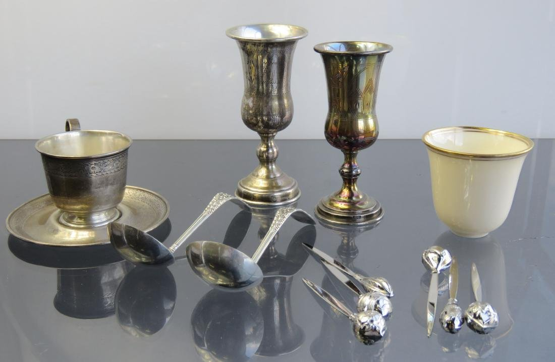 LOT ASSORTED STERLING INCLUDING (2) KIDDISH CUPS, (2)