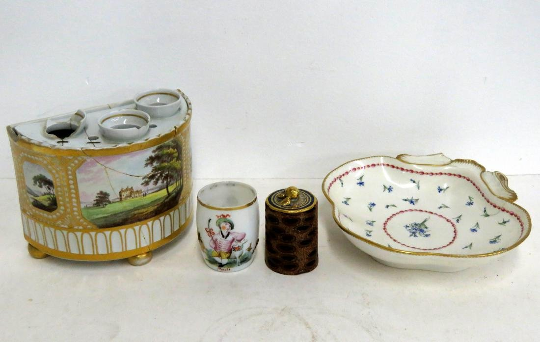 BOX LOT INCLUDING EARLY SPODE BOUGH POT, DERBY DISH,