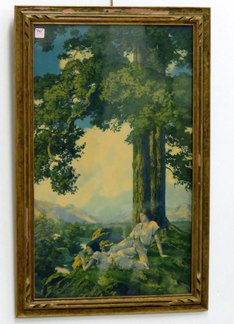 "MAXFIELD PARRISH PRINT, ""HILLTOP"". FRAMED AND GLAZED-34"