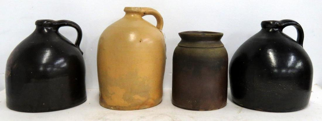 LOT (4) ASSORTED STONEWARE JUGS AND PRESERVE JAR, 19TH