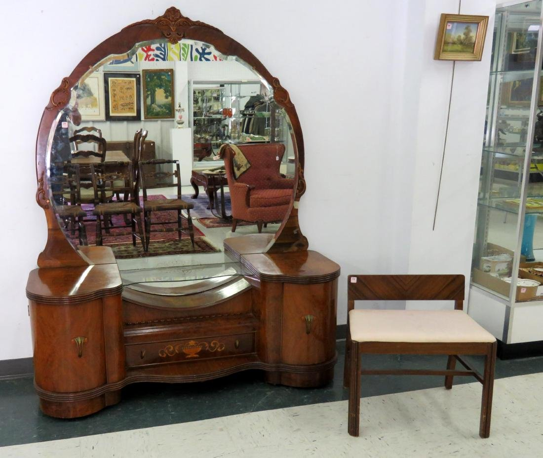 ART DECO INLAID WALNUT DRESSING STAND WITH BENCH.