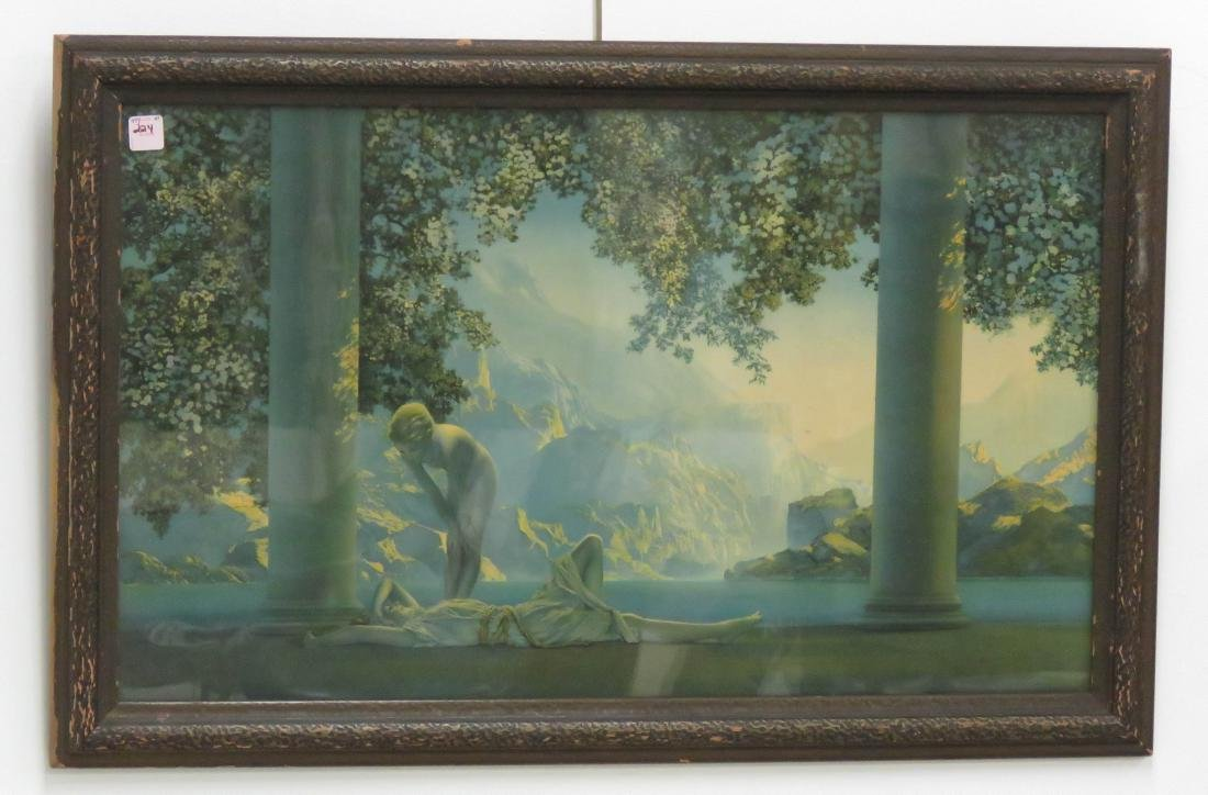 "MAXFIELD PARRISH PRINT, ""DAYBREAK"". FRAMED AND"