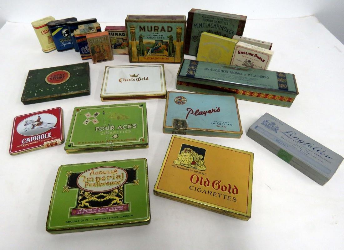 LOT (21) ASSORTED VINTAGE CIGARETTE TINS/PACKS/BOXES