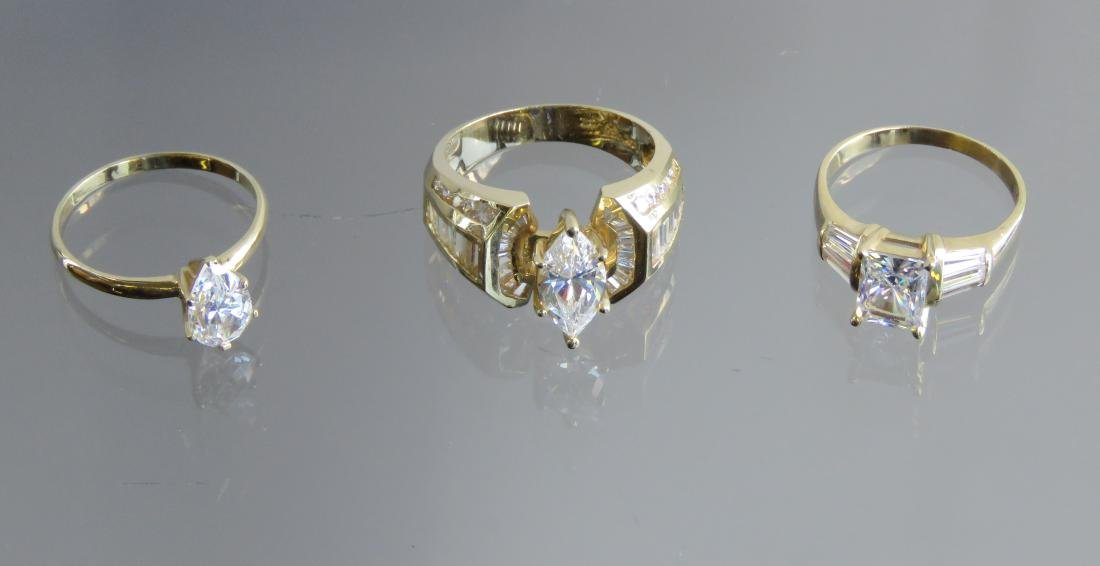 LOT (3) 14K YELLOW GOLD AND CUBIC ZIRCONIA RINGS. RING