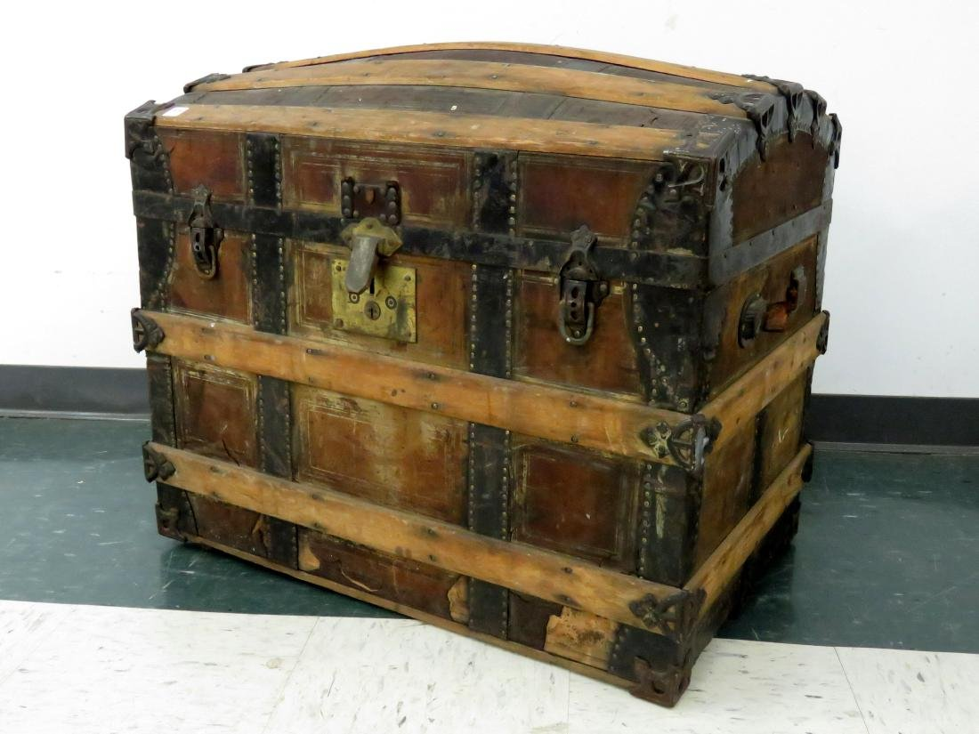VINTAGE TAYLOR'S PATENT OAK BOUND DOME-TOP TRUNK, 19TH