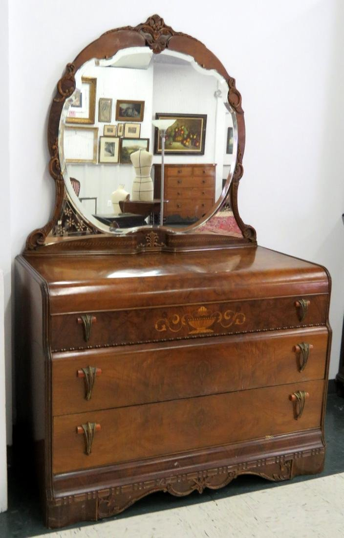 ART DECO INLAID WALNUT CHEST WITH MIRROR. HEIGHT 76;