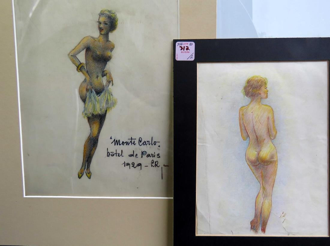 FRENCH SCHOOL (20TH CENTURY), LOT (2) CONTE CRAYON ON